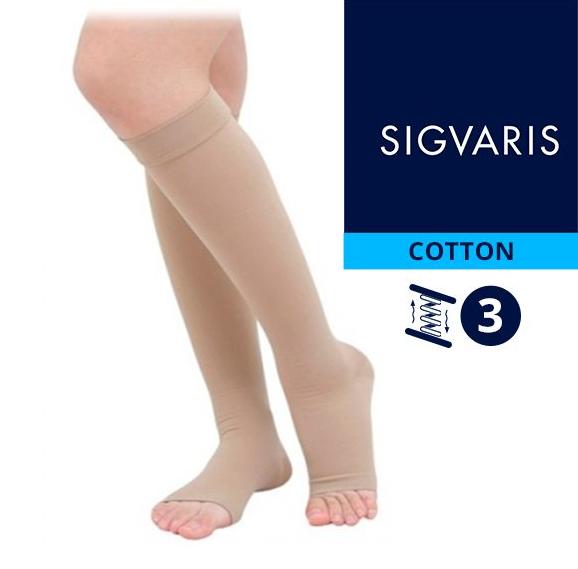 Компрессионные гольфы от варикоза SIGVARIS MEDICAL COTTON 3 класс компрессии открытый носок (мысок) для женщин и мужчин 14% ХЛОПКА