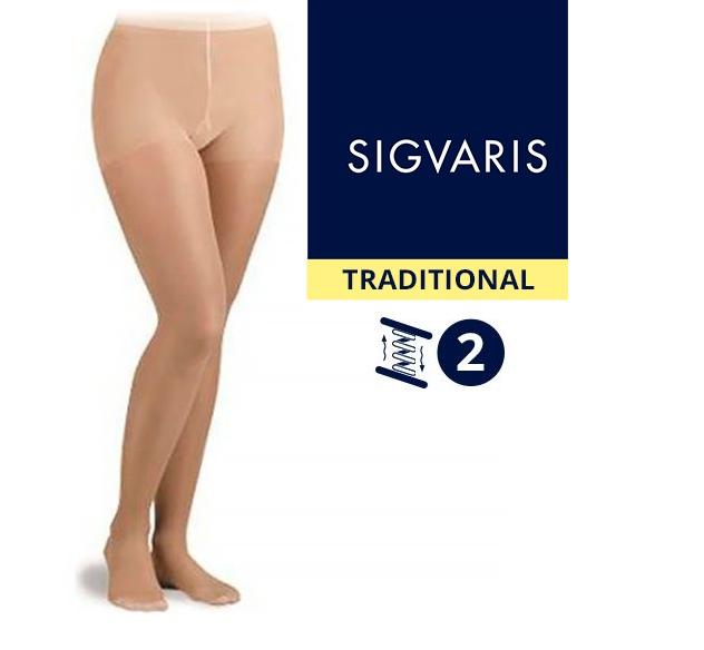 Компрессионные колготы от варикоза SIGVARIS MEDICAL TRADITIONAL 2 класс компрессии открытый носок (мысок) для женщин 30% КАУЧУК