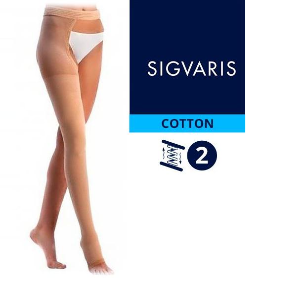 Компрессионный чулок от варикоза НА ОДНУ НОГУ с застежкой на талии SIGVARIS MEDICAL COTTON 1 и 2 класс компрессии открытый носок (мысок) для женщин и мужчин 14% ХЛОПКА