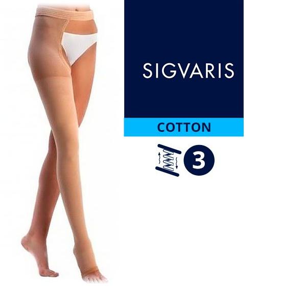 Компрессионный чулок от варикоза НА ОДНУ НОГУ с застежкой на талии SIGVARIS MEDICAL COTTON 3 класс компрессии открытый носок (мысок) для женщин и мужчин 14% ХЛОПКА