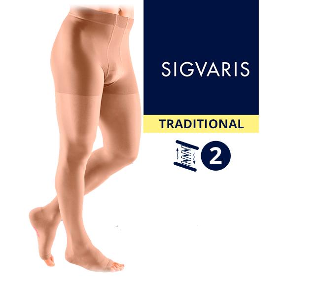 Компрессионные колготы (трико) от варикоза SIGVARIS MEDICAL TRADITIONAL 2 класс компрессии открытый носок (мысок) для мужчин 30% КАУЧУК