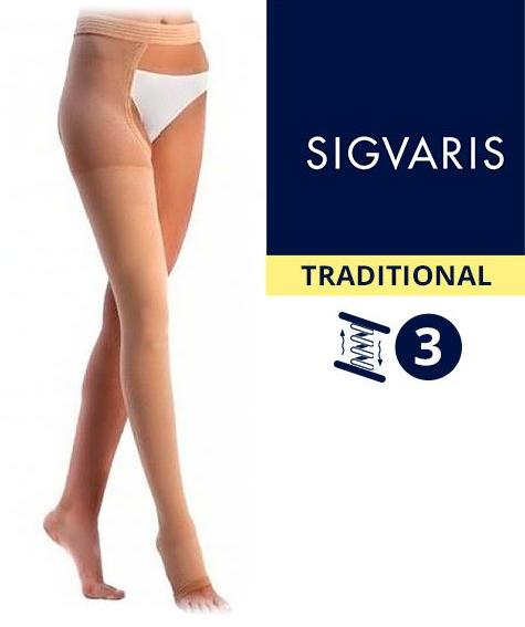 Компрессионный чулок от варикоза НА ОДНУ НОГУ с застежкой на талии SIGVARIS MEDICAL TRADITIONAL 3 класс компрессии открытый носок (мысок) для женщин и мужчин 30% КАУЧУКА