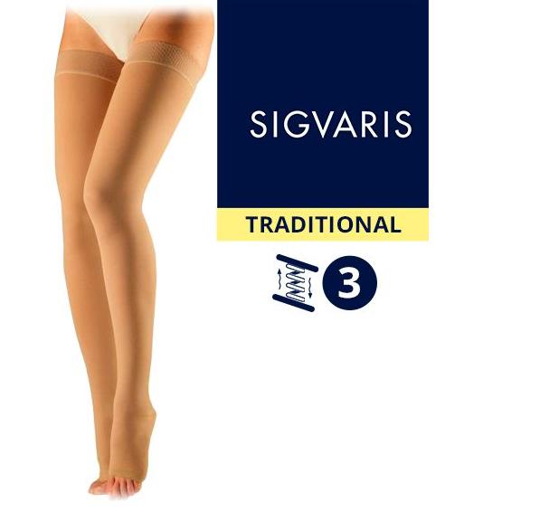 Компрессионные чулки от варикоза SIGVARIS MEDICAL TRADITIONAL 3 класс компрессии открытый носок (мысок) для женщин и мужчин 30% КАУЧУКА