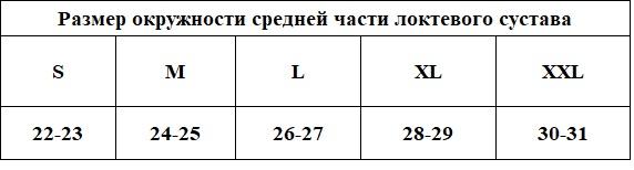 Бандаж для локтяТиса БЛ-3Ш размерная таблица