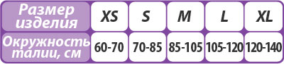 Корректор осанки Тривес Т-1775 , Т-1775/1 размерная таблица