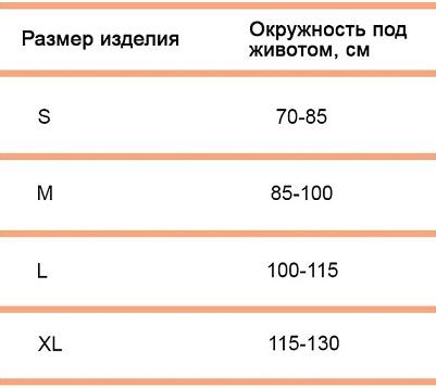 Бандаж дородовый и послеродовый (комбинированный) Тривес Т-1115 размерная таблица