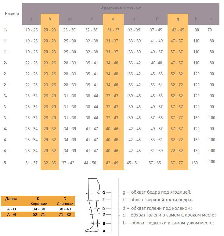 Таблица размеров Компрессионные гольфы Aries Avicenum 360 второго класса компрессии