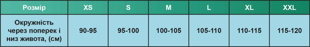 50% ХЛОПОК Дородовый эластичный пояс (ортез) Elastra KVP-2R размерная таблица