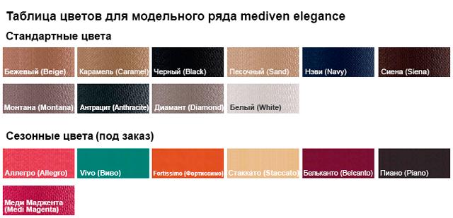MEDIVEN ELEGANCE таблица цветов - цветовая гамма