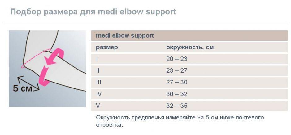 Бандаж для локтевого сустава Medi Elbow Support таблица размеров