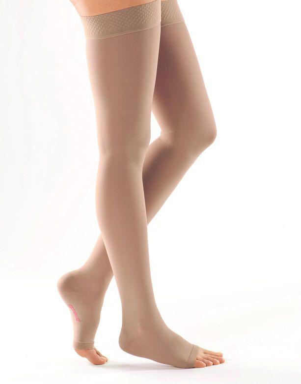 РЕЗИНКА ДЛЯ ШИРОКИХ БЕДЕР компрессионные чулки MEDIVEN PLUS medi  2 класс компрессии с открытым и закрытым носком для женщин