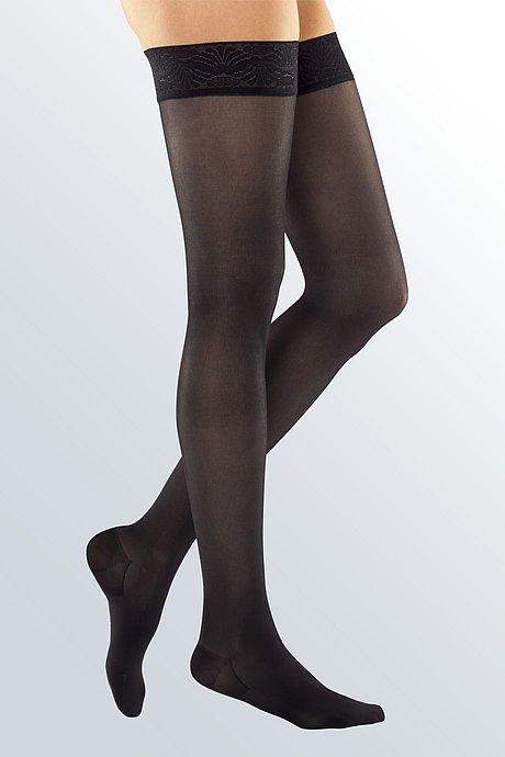 Женские компрессионные чулки mj-1 metropole с КРУЖЕВНОЙ РЕЗИНКОЙ «platinum» профилактические с закрытым носком